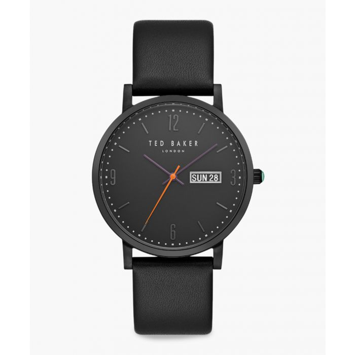 Image for Grant black leather and stainless steel watch