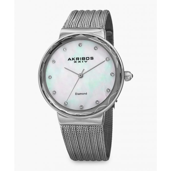 Image for Silver-tone, mother-of-pearl and diamond watch