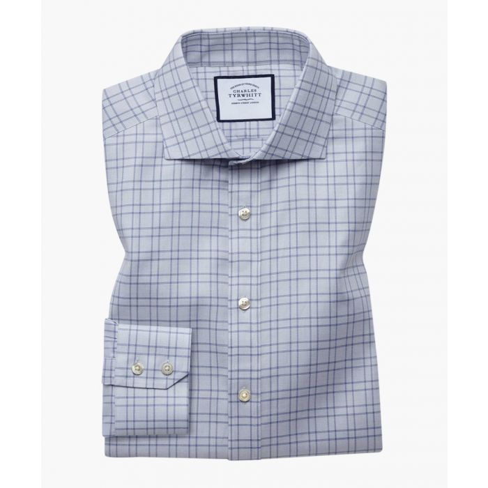 Image for Grey pure cotton extra slim fit textured check shirt