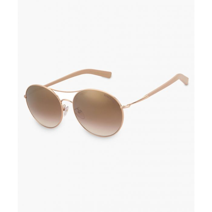 Image for Gold-tone and beige aviator sunglasses