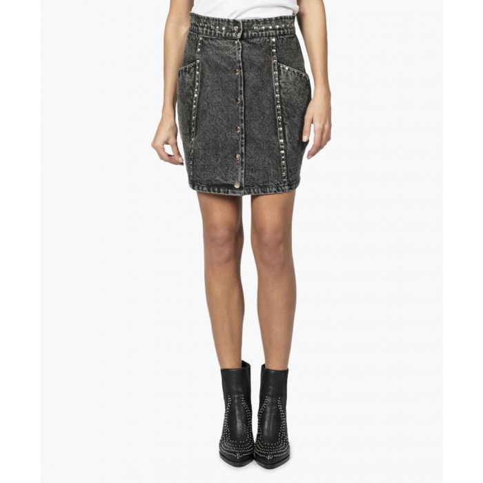 Image for Motive washed black denim mini skirt