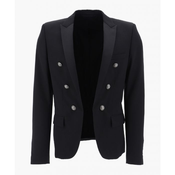 Image for Black cotton-wool blend blazer