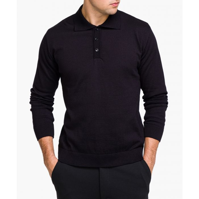 Image for Black long sleeved polo shirt