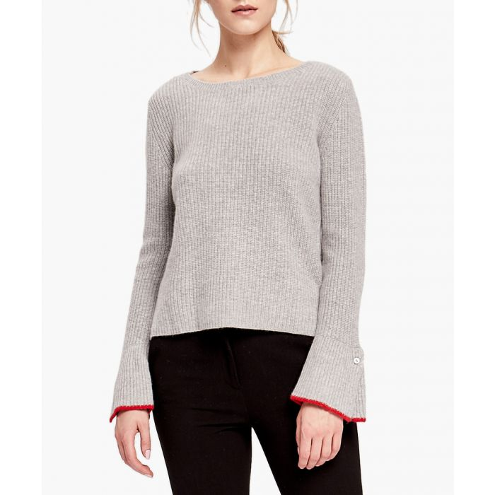 Image for Grey pure cashmere flared sleeve jumper