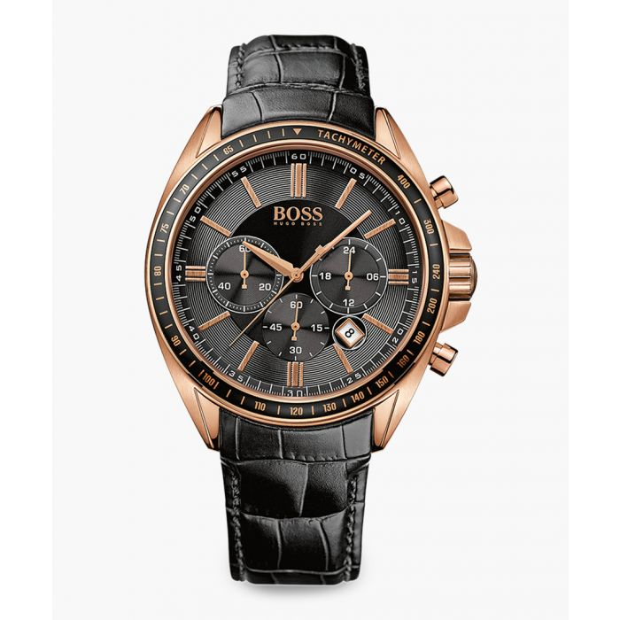 Image for Black and rose gold-tone leather watch