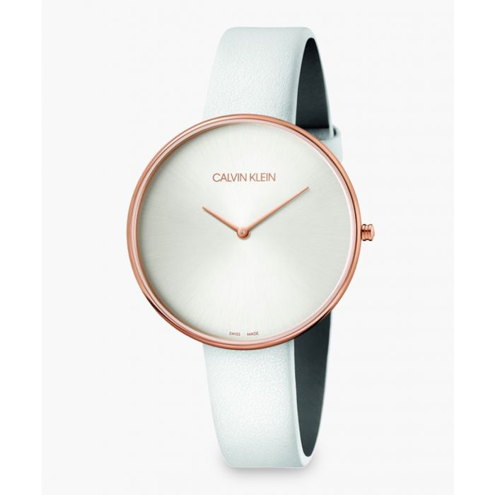 Image for White leather and rose gold-plated watch