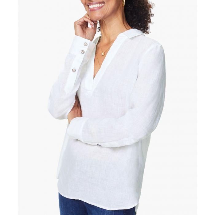 Image for Optic white linen popover tunic