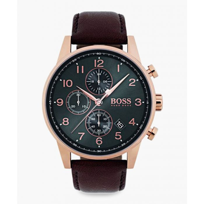Image for Rose gold-tone and black dial watch