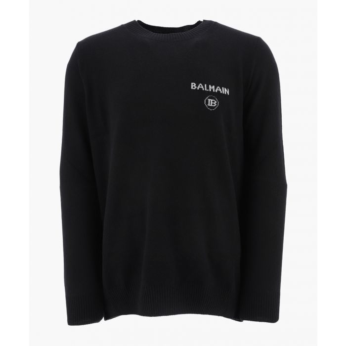 Image for Black cashmere-wool blend embroidered logo jumper