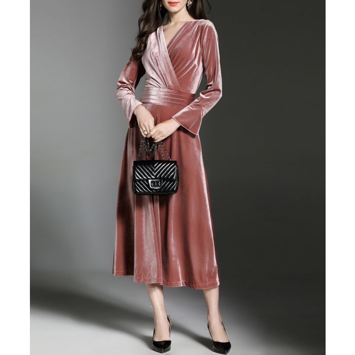 Image for Powder velvet long sleeve midi dress