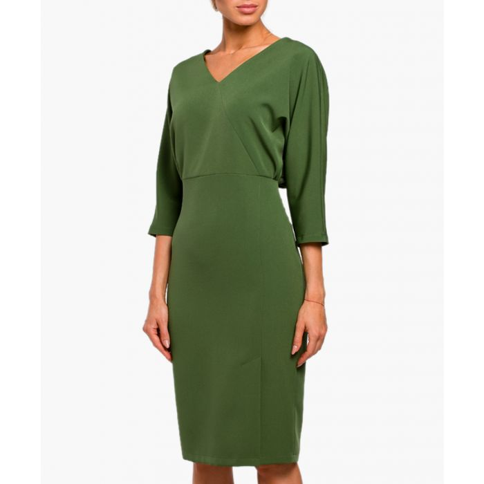 Image for Green V-neck fitted midi dress