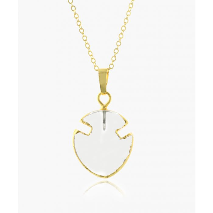 Image for Mini Arrowhead 14k gold-plated and quartz necklace