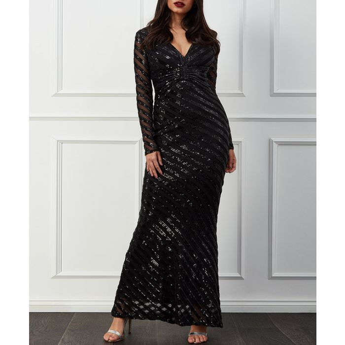 Image for Black sequin stripe front bow maxi dress