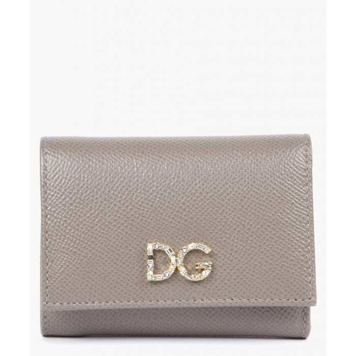 Image for Beige dauphine leather embellished logo tri-fold wallet