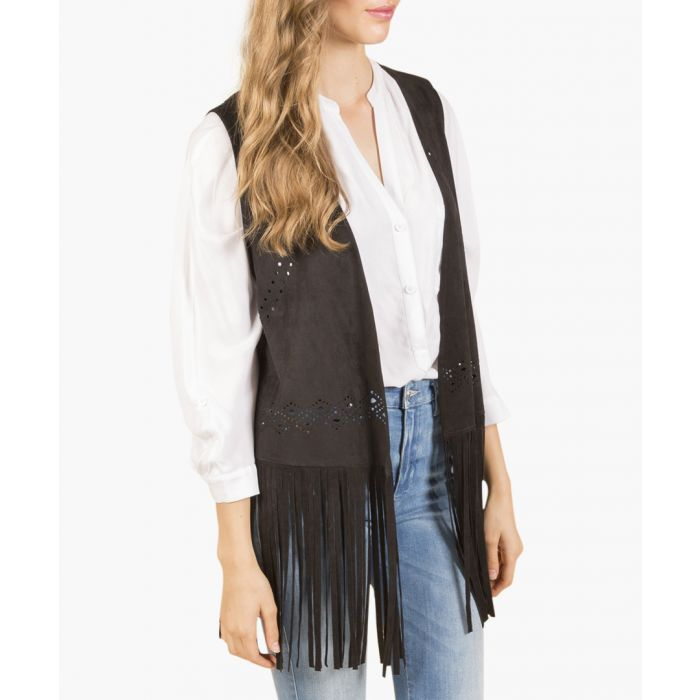 Image for Grey suedette fringed waistcoat