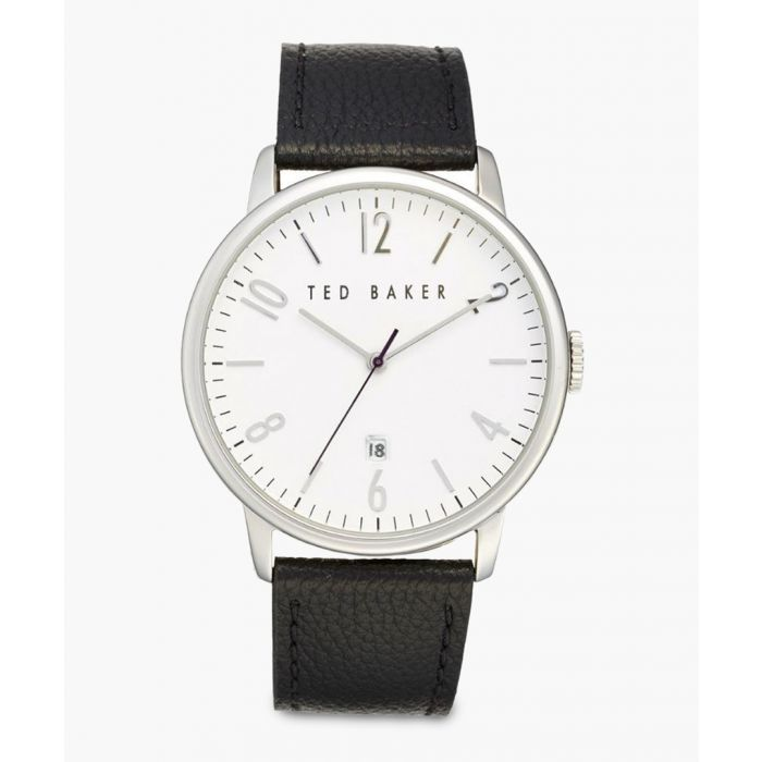 Image for Black leather and stainless steel watch