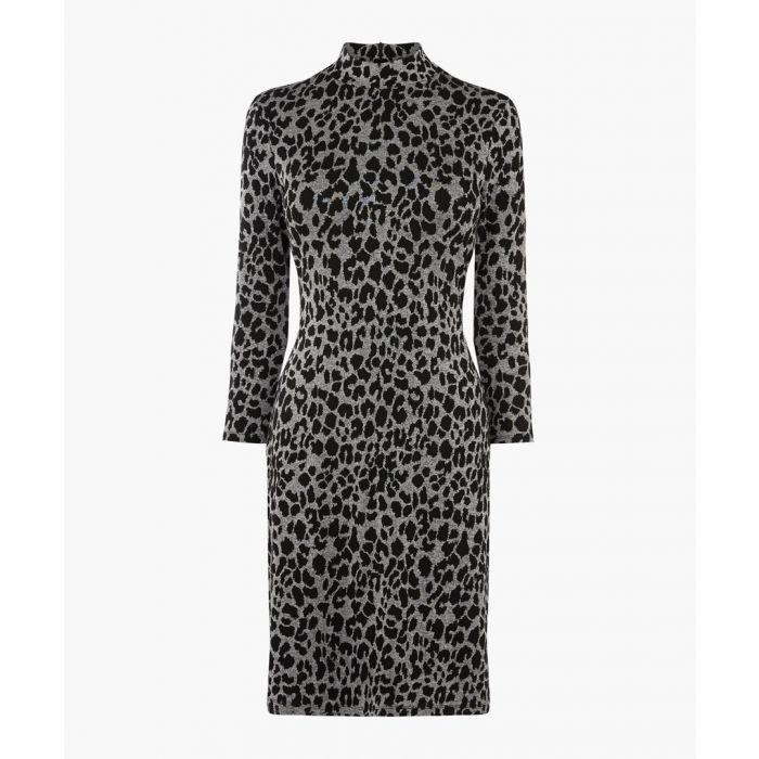 Image for Grey pattern animal jacquard dress