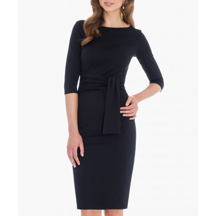 Image for Black pencil dress with a tie detail