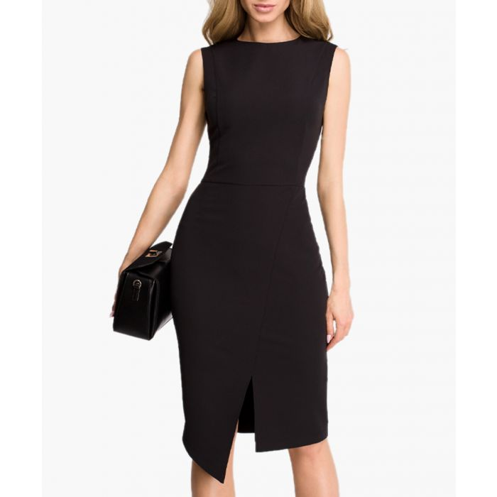 Image for Black asymmetric hem fitted dress