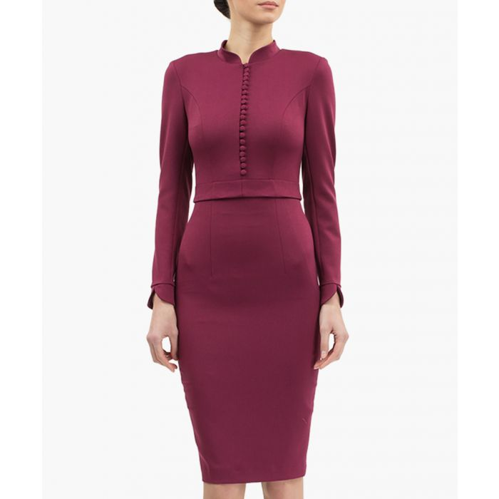 Image for Lilac button-up high-neck dress