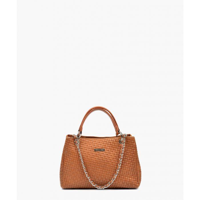 Image for Cognac leather shopper