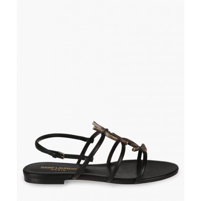 Image for Cassandra black logo-plaque flat sandals