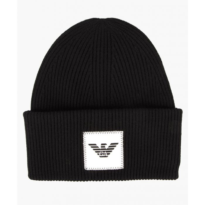 Image for Black wool and cashmere blend beanie