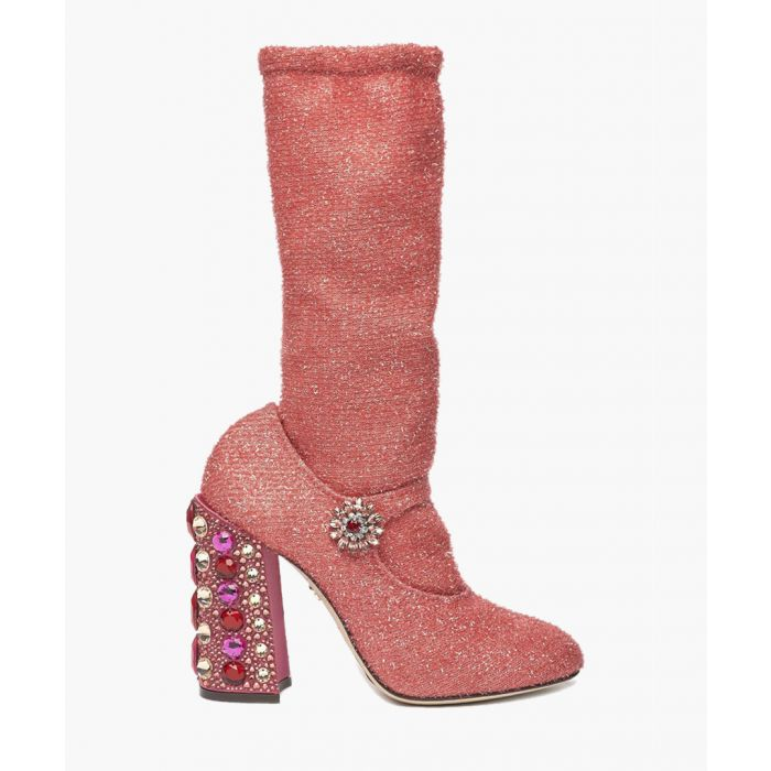 Image for Pink lurex and leather embellished sock boots