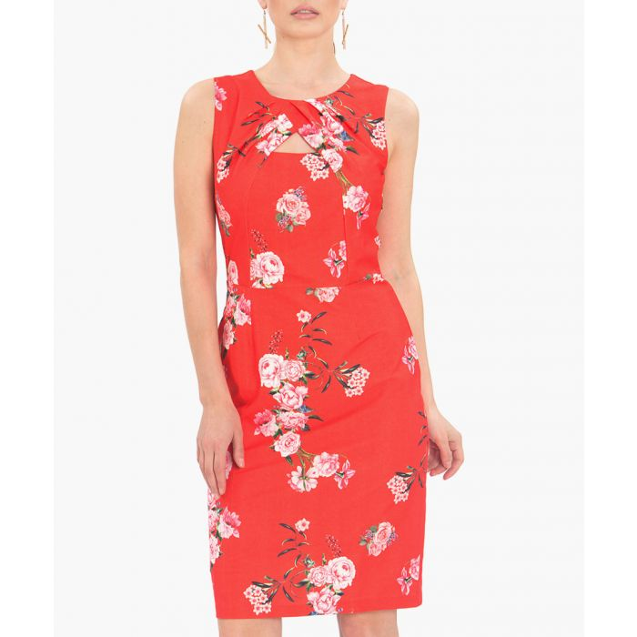 Image for Red floral print keyhole sheath dress