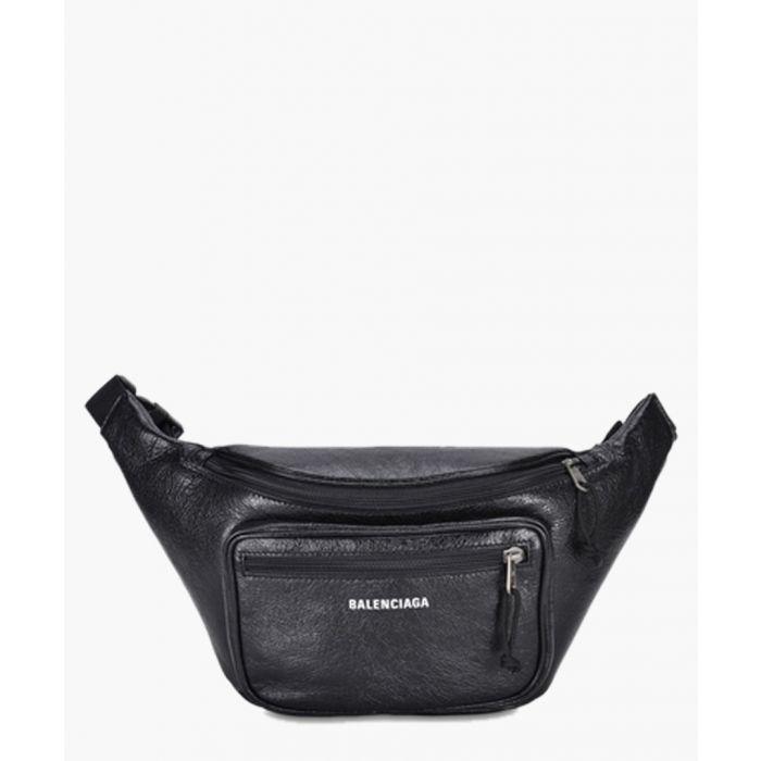 Image for Black leather sling bag