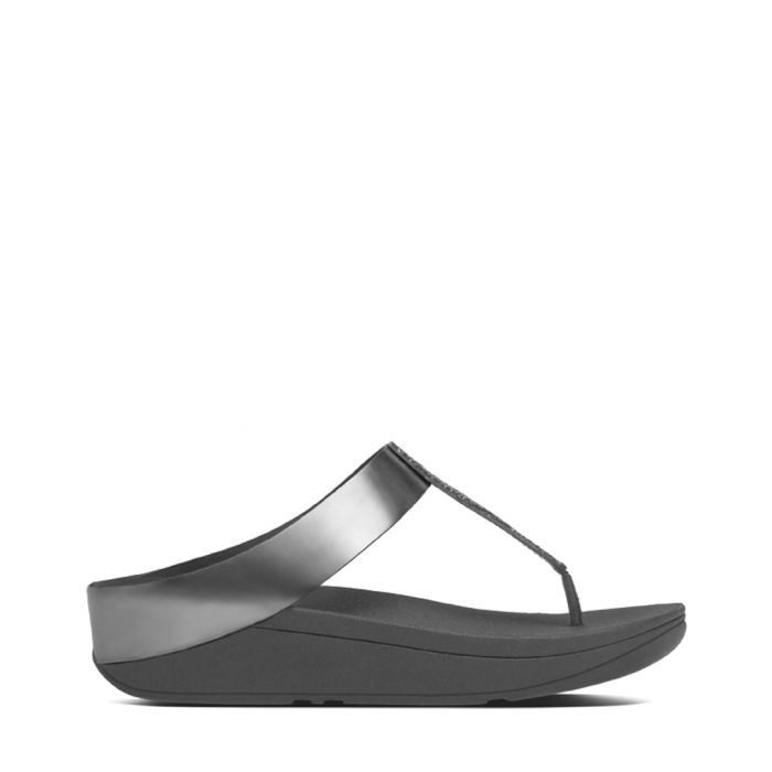 Image for Fino pewter toe-post sandals