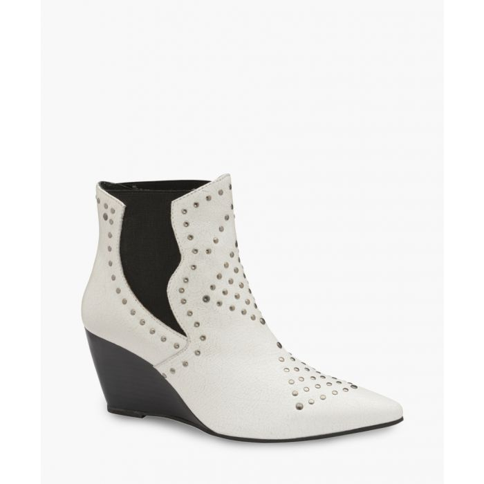 Image for Black and white leather ankle boots