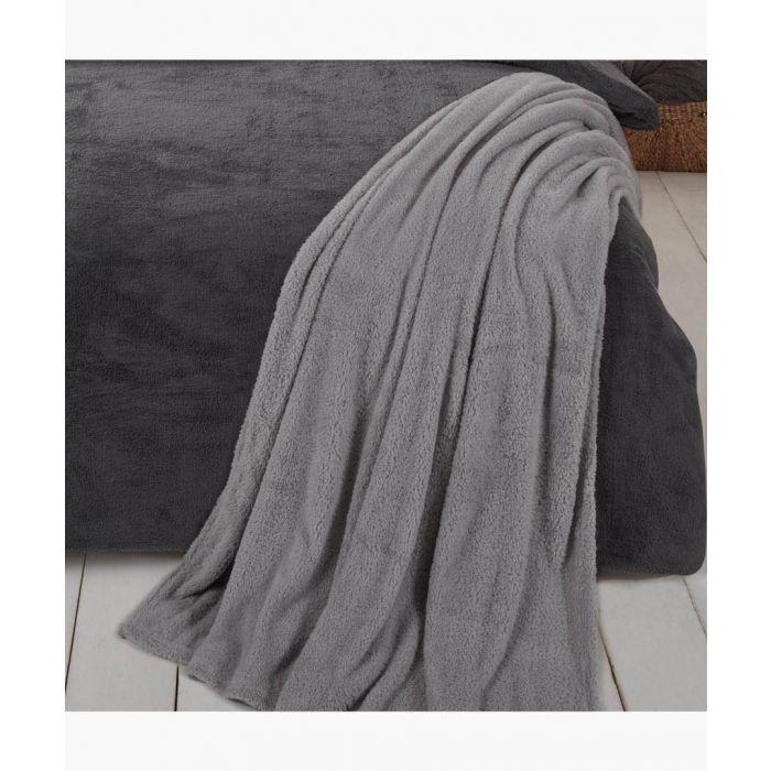Image for Grey teddy fleece throw 200x240cm