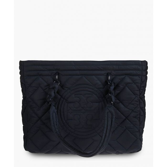 Image for Navy quilted nylon tote
