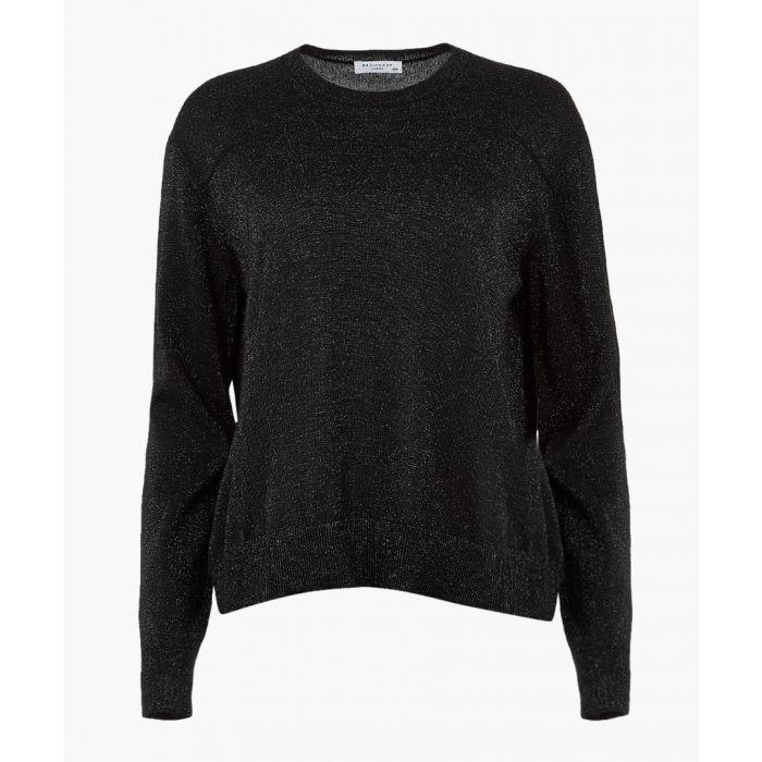 Image for Black melange wool blend top