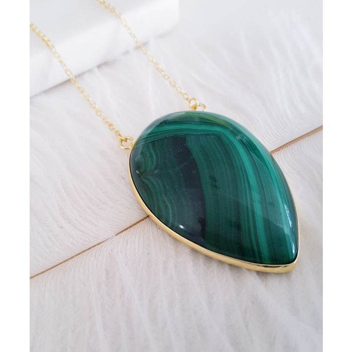 Image for Inverse Teardrop 14k gold-plated and malachite necklace
