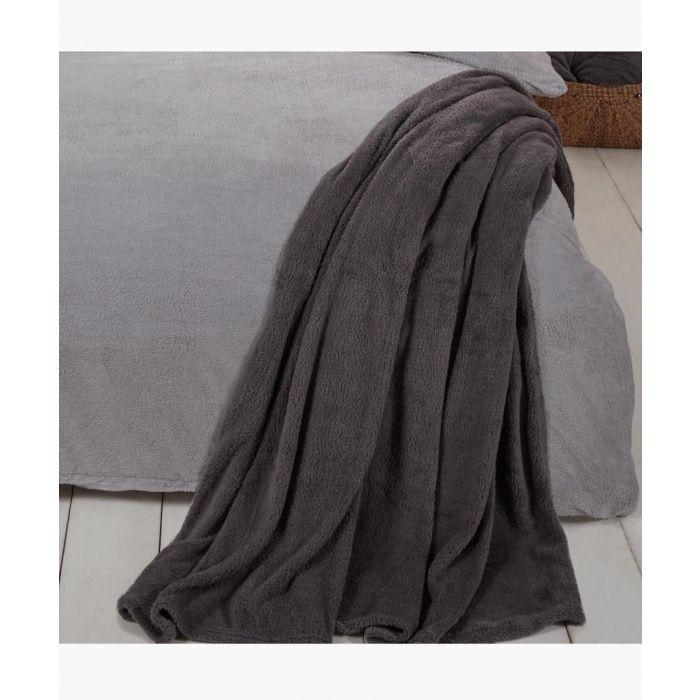 Image for Charcoal teddy fleece throw 150x200cm