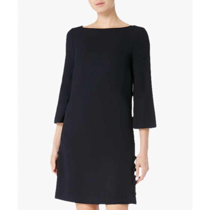 Image for Harlow navy blue wool-crepe sheath dress