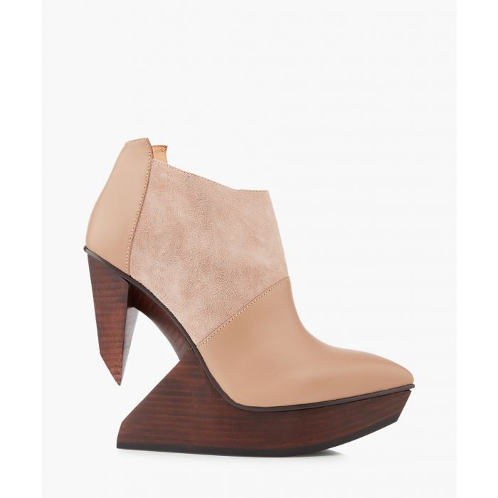 Image for Edge blush leather & wood ankle boots
