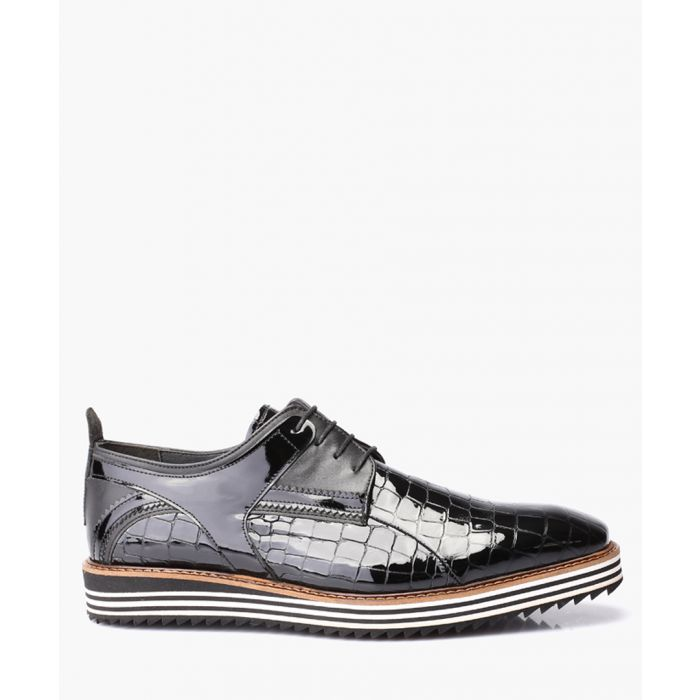 Image for Black crocodile patent leather shoes