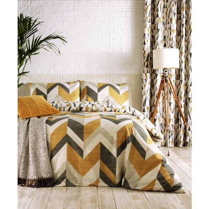 Image for Renovate charcoal and gold-tone cotton double duvet cover set