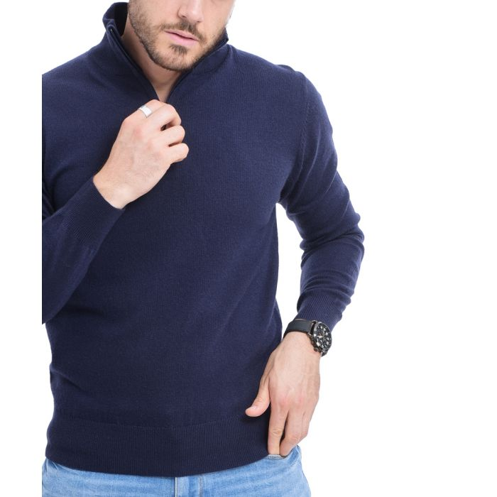 Image for Blue cashmere blend semi-zip pullover