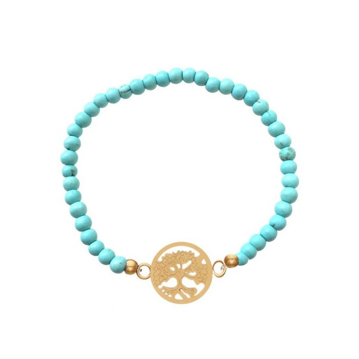 Image for 18k gold-plated and turquoise bracelet