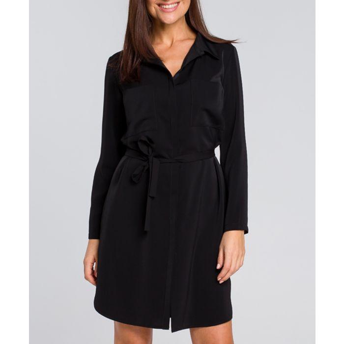 Image for Black tie-waist mini dress