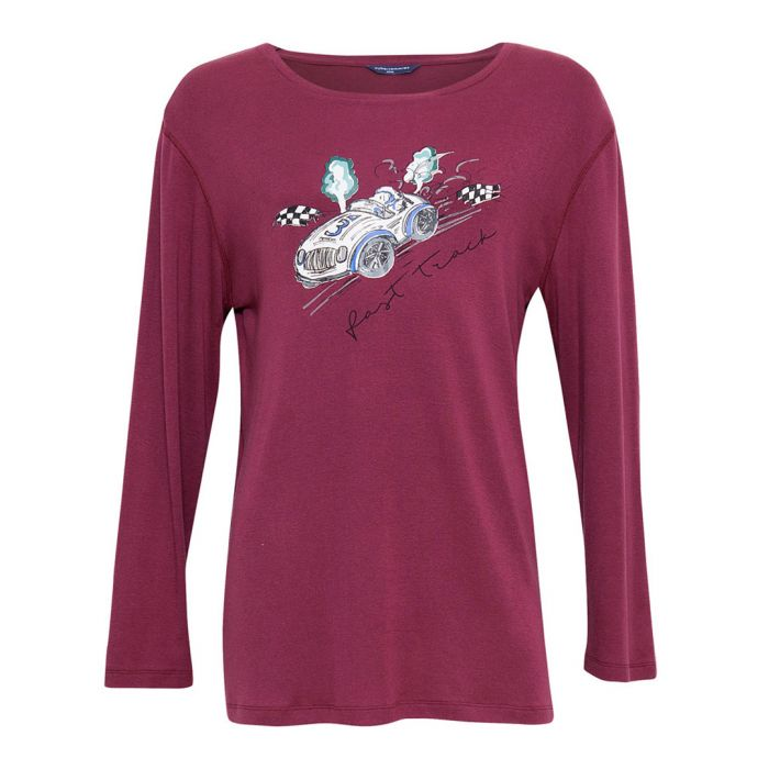 Image for Austin burgundy cotton-blend placement print shirt