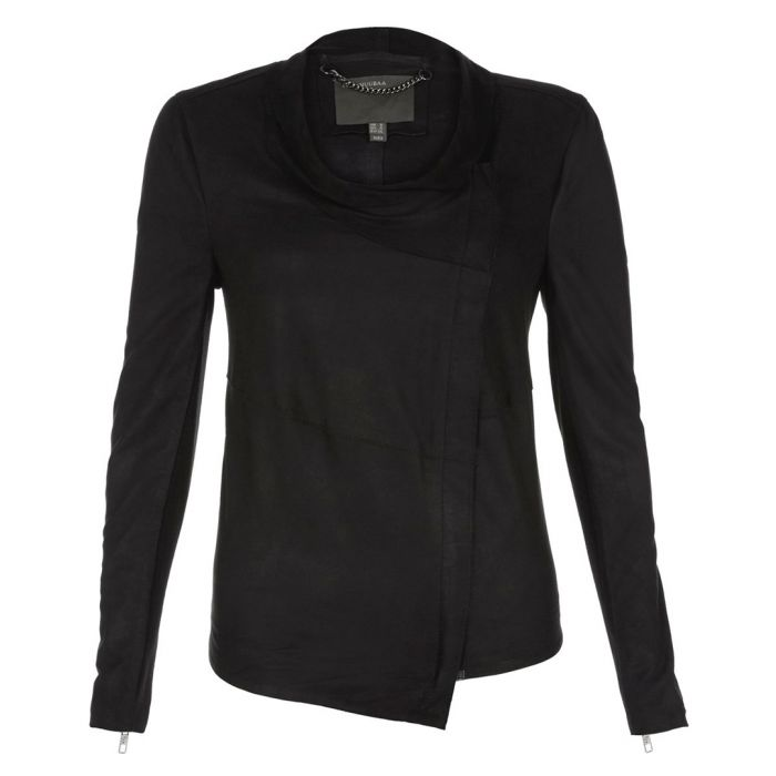 Image for Yogi black leather asymmetric jacket