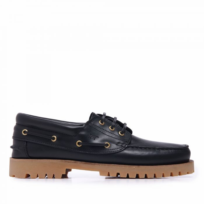 Image for Black leather lace-up boat shoes