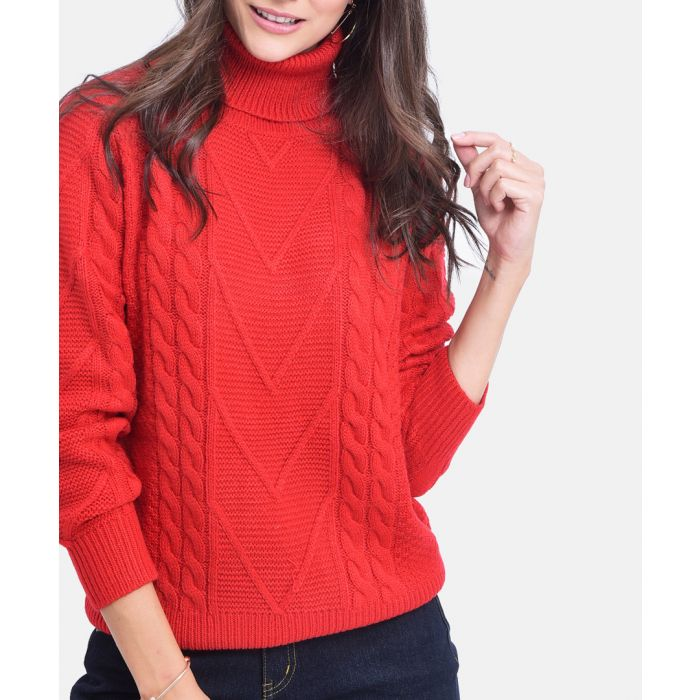 Image for Red cashmere and mohair knit jumper