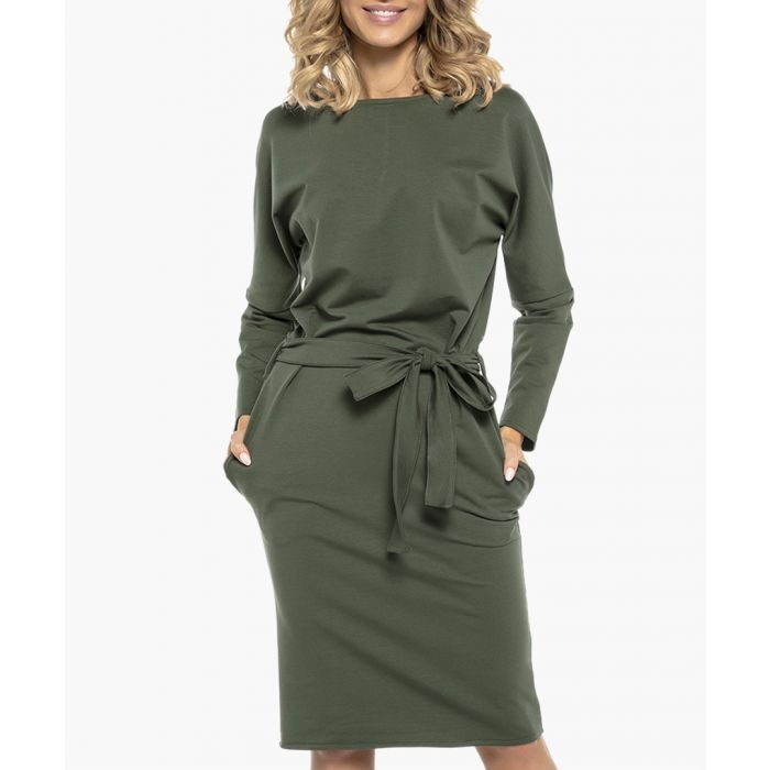 Image for Green cotton blend dress