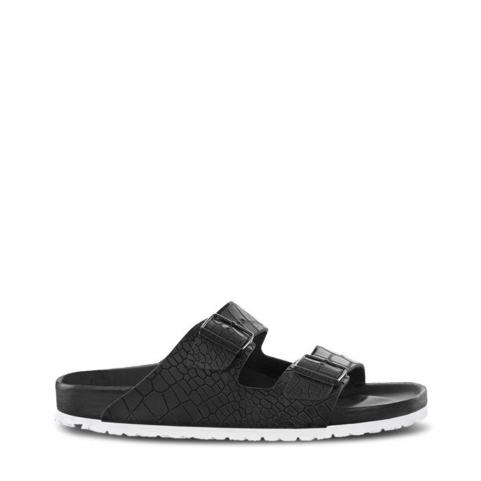 Image for Arizona black leather moc-croc sandals